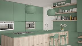 Cucina con gli scaffali e gabinetti verdi e di legno moderni, isola con i panchetti Salone contemporaneo, architettura minimalist illustrazione di stock