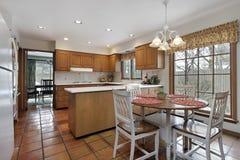 Cucina con la pavimentazione di terracotta Immagine Stock Libera da Diritti