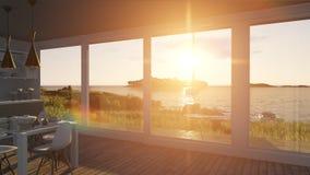 Cucina con le porte ed il paesaggio di vetro del mare illustrazione di stock