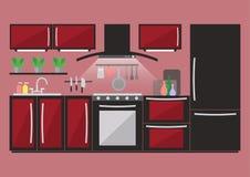 Cucina con mobilia ed articolo da cucina Illustrazione piana di vettore di stile Immagine Stock