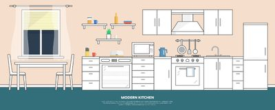 Cucina con mobilia Interno della cucina con la tavola, la stufa, l'armadietto, i piatti ed il frigorifero Illustrazione piana di  royalty illustrazione gratis