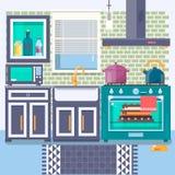 Cucina con mobilia Stile piano Illustrazione di vettore Fotografia Stock