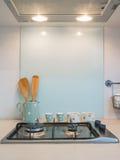 Cucina, contatore di cottura della stufa. Fotografia Stock