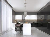 Sgabelli da bar neri all isola di cucina in salone luminoso