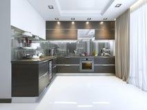 Cucina-contemporaneo nel marrone con i pavimenti di marmo bianchi e del parete royalty illustrazione gratis