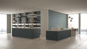 Cucina costosa di lusso minimalista, isola, lavandino e fresa di legno bianchi e blu, spazio aperto, finestra panoramica, ceramic illustrazione di stock
