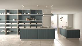 Cucina costosa di lusso minimalista, isola, lavandino e fresa di legno bianchi e blu, spazio aperto, finestra panoramica, ceramic illustrazione vettoriale
