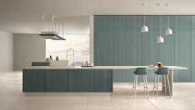 Cucina costosa di lusso minimalista, isola, lavandino e fresa di legno bianchi e blu, spazio aperto, finestra panoramica, ceramic royalty illustrazione gratis