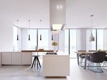 Cucina d'angolo bianca nello stile contemporaneo, con le sedie superiori e nere della barra Lampade sospese e cappuccio quadrato, royalty illustrazione gratis