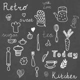 Cucina d'annata messa sulla lavagna Elementi di disegno Immagini Stock