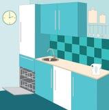 cucina degli interiori della mobilia illustrazione di stock