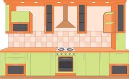 cucina degli interiori della mobilia royalty illustrazione gratis