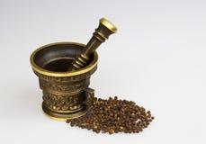 Cucina del mortaio con i semi del pepe Immagini Stock