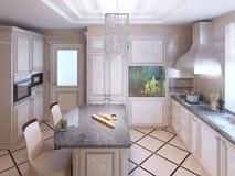 Cucina di art deco con mobilia dipinta Fotografia Stock