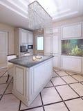 Cucina di avanguardia con la mobilia bianca del modello Fotografia Stock Libera da Diritti