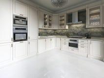 Cucina di deco di arte moderna con gli elementi classici Facciata di vetro ed apparecchi incorporati Interno nei colori beige illustrazione vettoriale