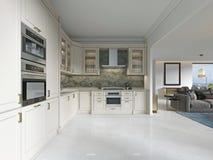 Cucina di deco di arte moderna con gli elementi classici Facciata di vetro ed apparecchi incorporati Interno nei colori beige illustrazione di stock