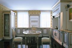 Cucina di legno classica con area pranzante 3d rendono Fotografie Stock