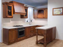 Cucina di legno vuota Fotografia Stock Libera da Diritti