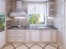 Cucina di lusso in casa privata Fotografia Stock