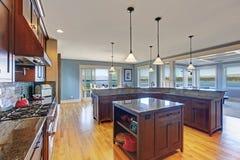Cucina di lusso con la combinazione di stoccaggio di marrone scuro Fotografie Stock Libere da Diritti