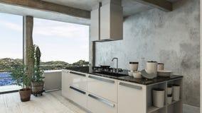 Cucina di lusso e moderna dell'attico con la vista dello stagno illustrazione di stock
