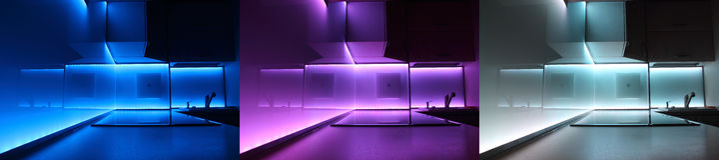 Cucina di lusso moderna con illuminazione piombo fotografia stock