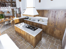 Cucina di lusso moderna in uno stile del sottotetto Immagine Stock