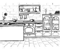 Cucina di schizzo Cucina di piano Illustrazione di vettore Fotografie Stock
