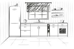 Cucina di schizzo Cucina di piano Illustrazione di vettore Immagini Stock