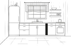 Cucina di schizzo Cucina di piano Illustrazione di vettore Fotografia Stock Libera da Diritti