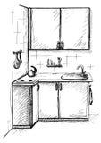 Cucina di schizzo Cucina di piano nella linea stile Illustrazione di vettore Immagini Stock Libere da Diritti