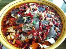 Cucina di Sichuan di cinese, sangue arrotolato Wang Fotografia Stock