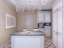 Cucina disegnata art deco con la barra dell'isola Fotografie Stock