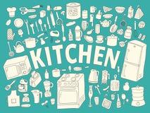 Cucina disegnata a mano stabilita delle icone Fotografia Stock Libera da Diritti