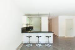 Cucina domestica dell'appartamento vuoto Fotografia Stock Libera da Diritti