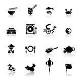 Cucina e coltura cinesi fissate icone Immagini Stock Libere da Diritti