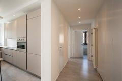 Cucina e corridoio eleganti con i riflettori in appartamento moderno fotografia stock libera da diritti