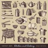 Cucina e cucinare gli elementi di disegno Fotografia Stock Libera da Diritti