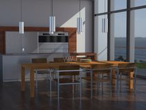 Cucina e sala da pranzo di lusso Immagine Stock Libera da Diritti