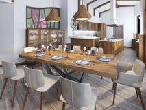 Cucina e sala da pranzo moderne nel sottotetto Fotografia Stock Libera da Diritti