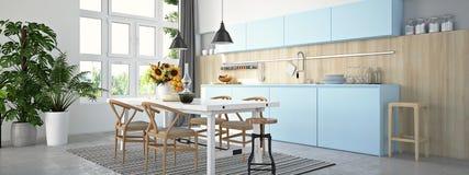 Cucina e salone in appartamento del sottotetto rappresentazione 3d Fotografia Stock