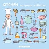 Cucina ed elementi di cottura, illustrazione di vettore Fotografia Stock