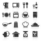 Cucina ed icone di cottura bianche Vettore Fotografia Stock