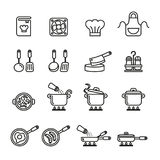 Cucina ed icone di cottura messe Linea azione di stile illustrazione di stock