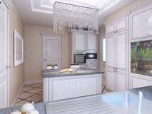 Cucina elegante di avanguardia con l'isola Immagine Stock Libera da Diritti