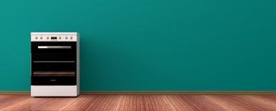 Cucina elettrica su un pavimento di legno illustrazione 3D Fotografie Stock Libere da Diritti