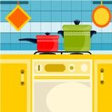 Cucina gialla Fotografie Stock