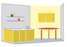 Cucina gialla Immagine Stock