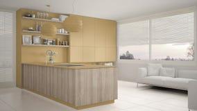 Cucina gialla e di legno moderna con gli scaffali e gabinetti, sofà e finestra panoramica Salone contemporaneo, archit minimalist royalty illustrazione gratis
